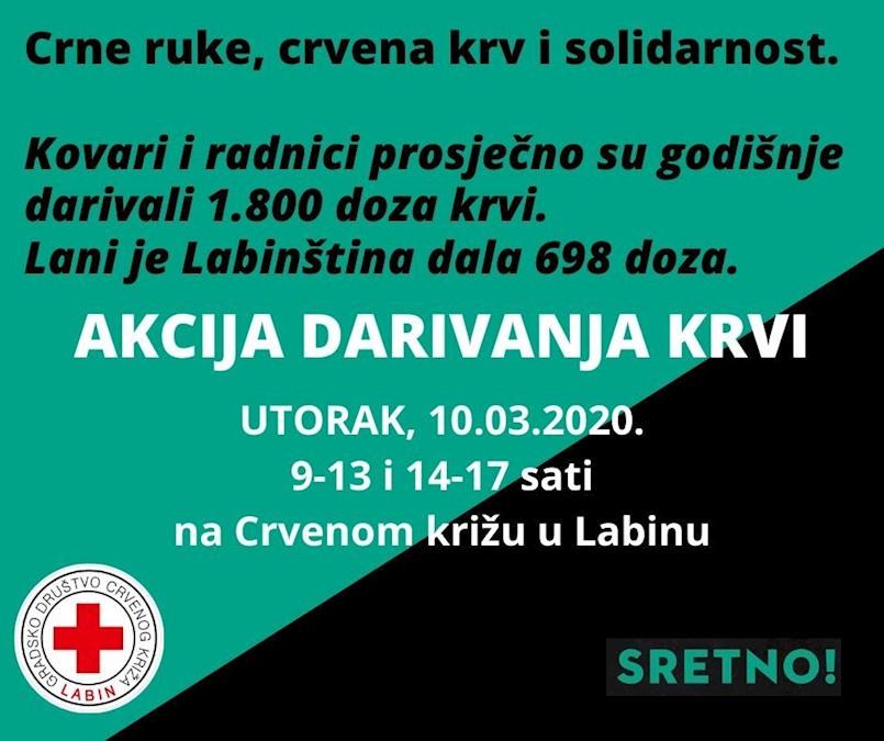 [NAJAVA] Akcija dobrovoljnog darivanja krvi u Labinu u utorak 10. ožujka 2020.