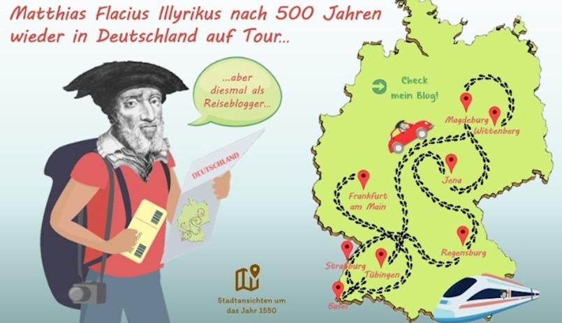 """Digitalni plakat """"Matija Vlačić Ilirik nakon 500 godina ponovno na turi po Njemačkoj"""""""