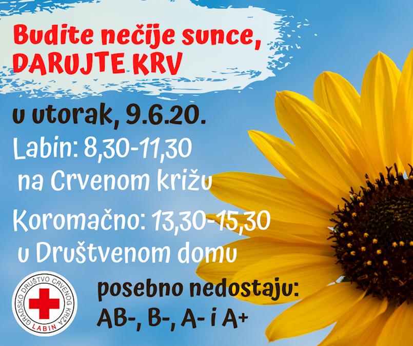 [NAJAVA] Akcija dobrovoljnog darivanja krvi u utorak 9. lipnja 2020. godine u Labinu i Koromačnu