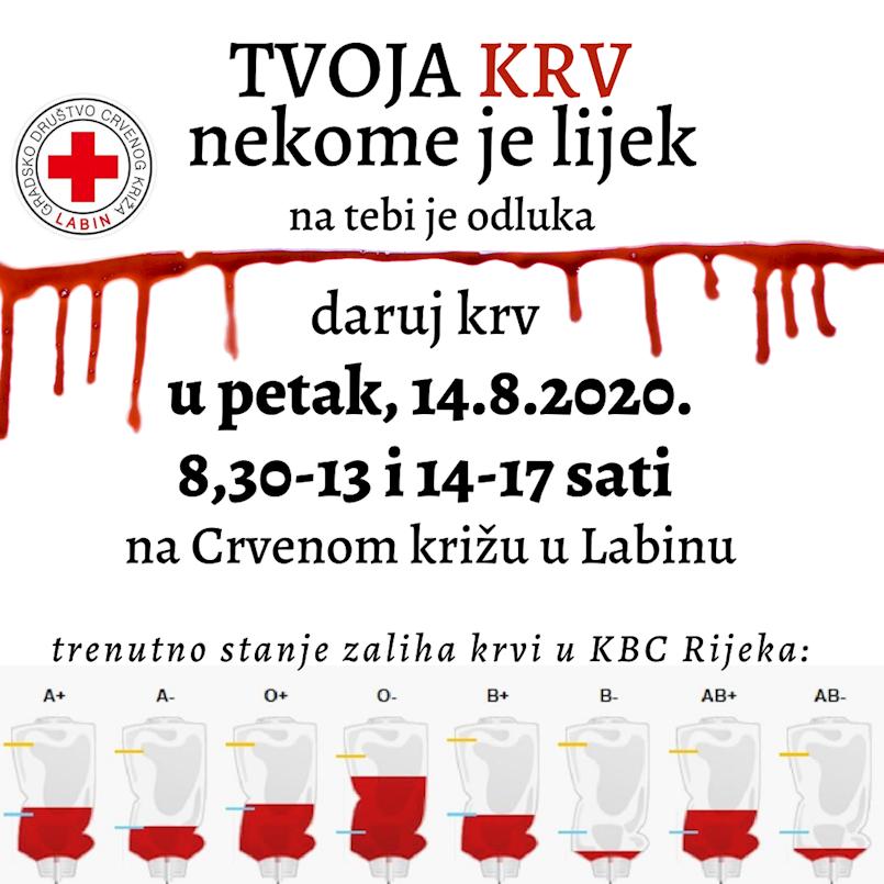 U petak akcija dobrovoljnog darivanja krvi u Labinu