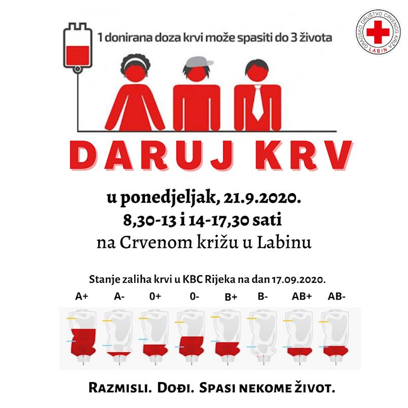 [NAJAVA] Akcija dobrovoljnog darivanja krvi 21. rujna 2020 u Labinu