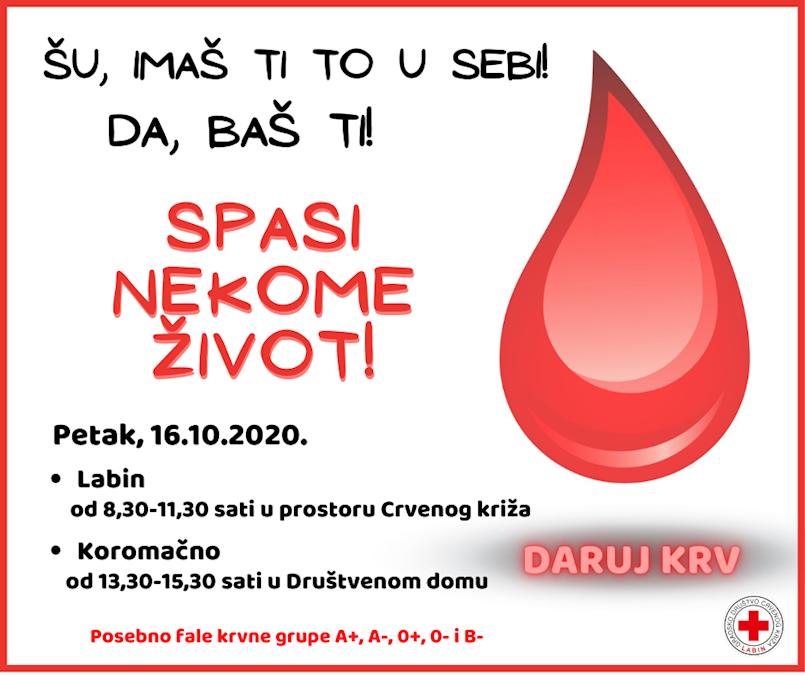 Ovog petka akcija dobrovoljnog darivanja krvi u Labinu i Koromačnu