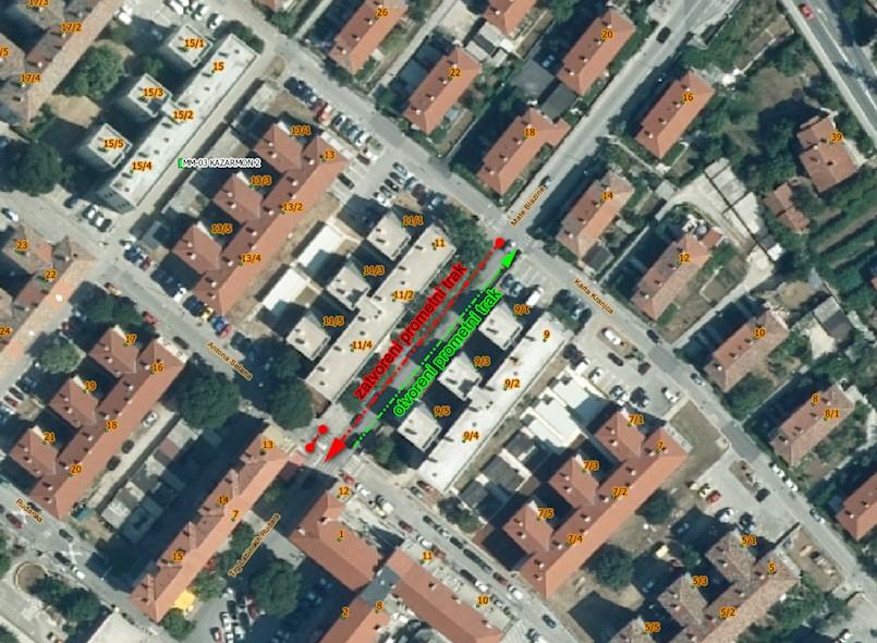 Od sutra privremena regulacija prometa ulicom Mate Blažine