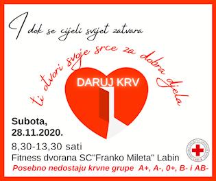 [NAJAVA] Akcija dobrovoljnog darivanja krvi u Labinu u subotu 28. 11. 2020.