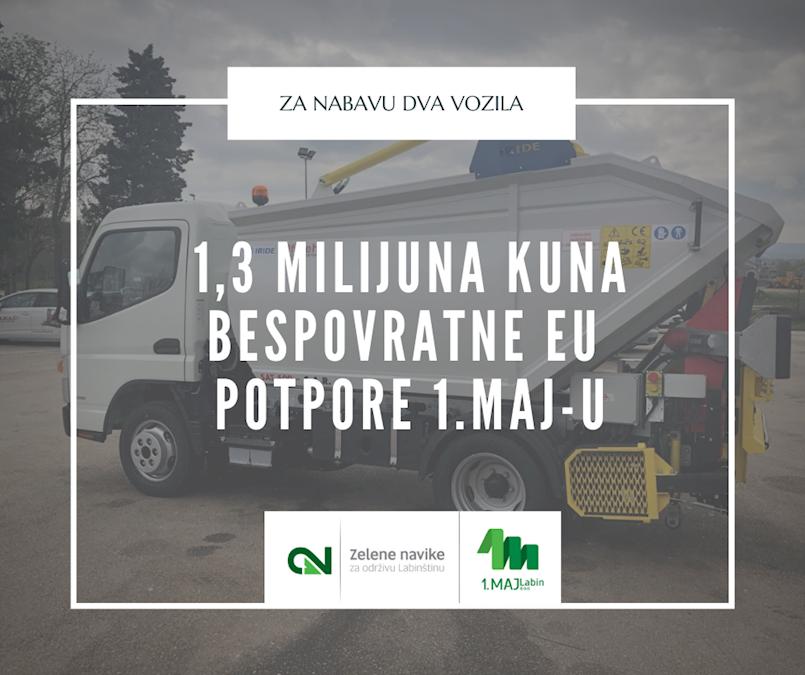 1.MAJ-u 1,3 milijuna kuna bespovratne potpore za nova vozila