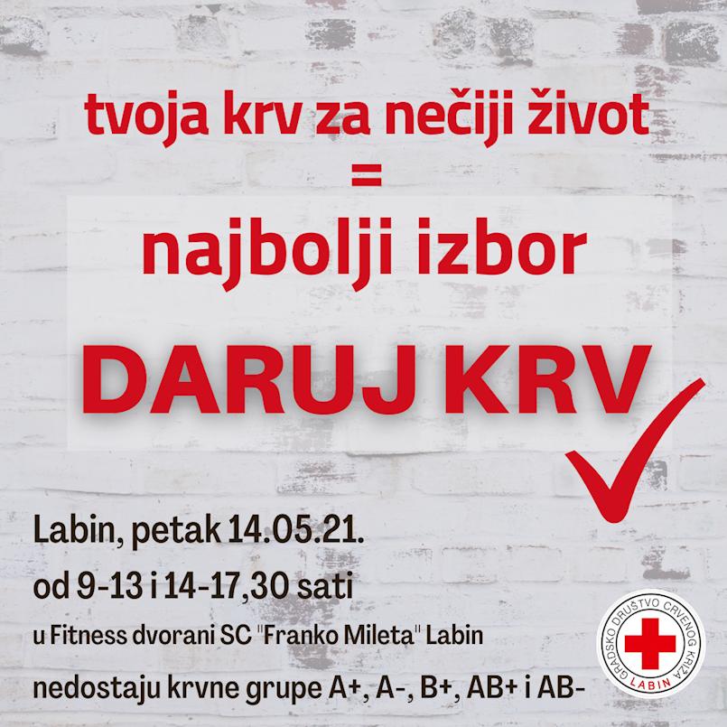 Akcija dobrovoljnog darivanja krvi u Labinu 14.05.2021.