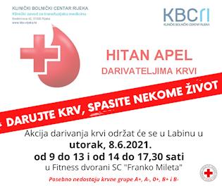 [NAJAVA] Akcija dobrovoljnog darivanja krvi u Labinu 08.06.2021.   posebno su niske zalihe krvnih grupa A+,A-, 0+, B+ i B-