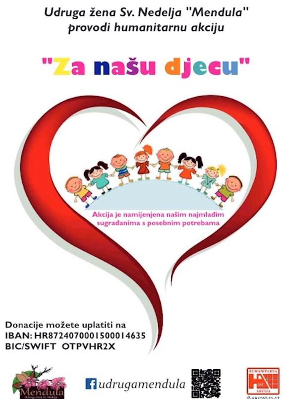 Udruga žena Sv. Nedelja ''Mendula'' zahvaljuje se svima na doniranju i sudjelovanju u humanitarnoj akciji ''Za našu djecu'' do sad prikupljeno 4.360,00 kuna