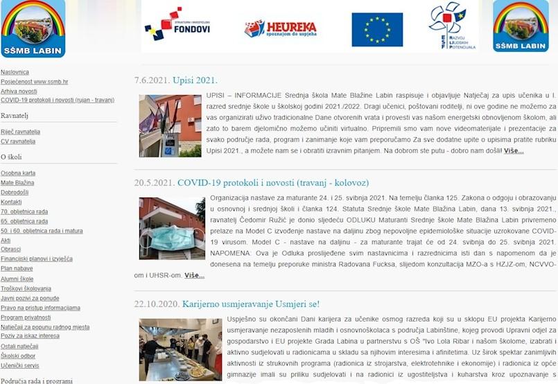 Tijekom lipnja velika posjećenost internet stranice labinske Srednje škole