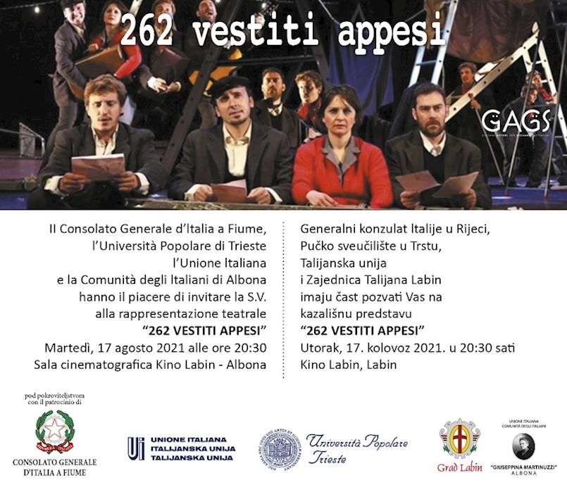 """Predstava """"262 vestiti appesi"""" večeras u Kinu Labin"""