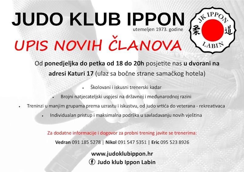 JK Ippon vrši upis novih članova svih dobnih skupina i pozivaju vas da se javite i dođete na probni trening.