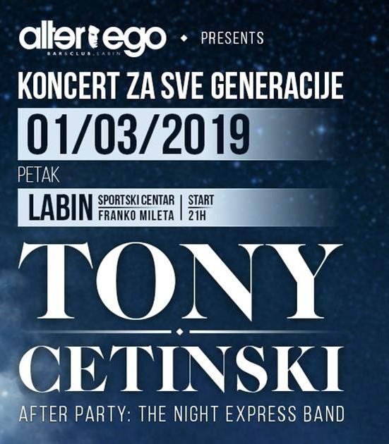 TONY CETINSKI - koncert za sve generacije 1. ožujka u Labinu!
