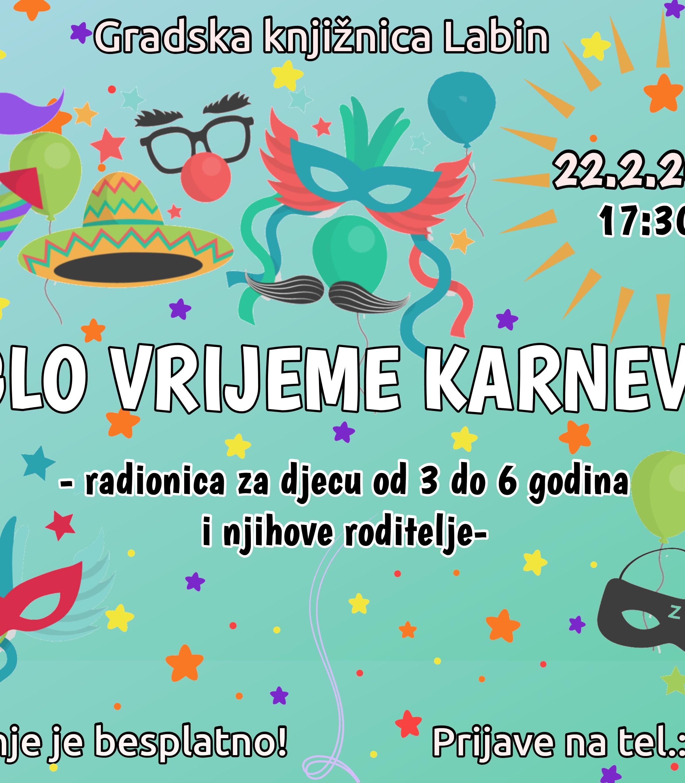 """Edukativno-kreativna radionica """"Stiglo vrijeme karnevala!"""""""
