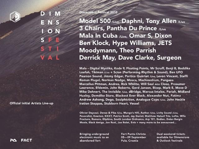 Najava prvih izvođača na Dimensions festivalu 2013.