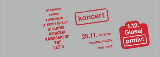 Koncert podrške kampanji «Građani glasaju protiv» 28.11. na Trgu bana Jelačića u Zagrebu