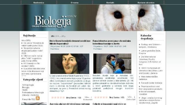 Biologija.com.hr je znanstveni portal specijaliziran za novosti iz područja biologije i srodnih znanosti