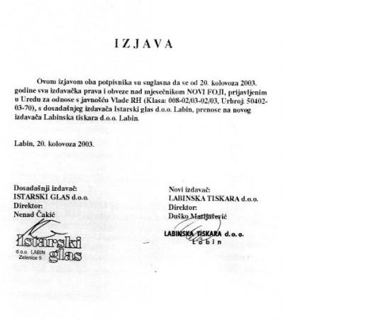 """Rješenje Općinskog suda u Labinu kojim je određena privremena mjera zabrane distribucije i prodaje novina """"Novih foji"""" ukinuto u cijelosti"""