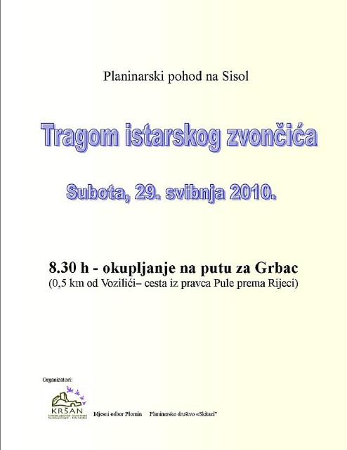 """Planinarski pohod na Sisol """"Tragom istarskog zvončića""""."""