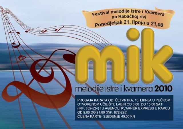 Najava: Melodije Istre i Kvarnera - MIK 2010. 21. 06. na rivi u Rapcu