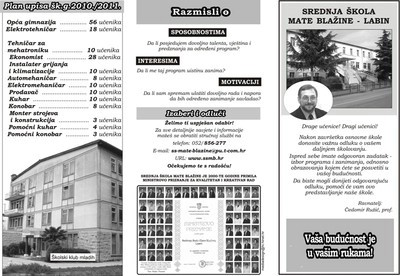 Srednja škola Mate Blažine labin organizira Dan otvorenih vrata za roditelje učenika VIII. razreda osnovnih škola