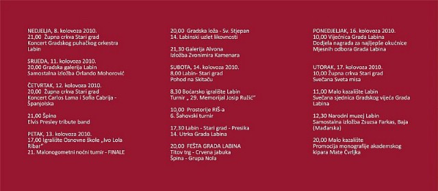 Dani Grada Labina - program - u subotu Nola i Crvena Jabuka