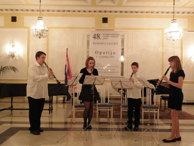 Na državnom natjecanju u Opatiji kvartet klarineta OGŠ Matka Brajše Rašana osvojio 3. nagradu