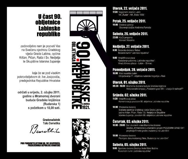 Cjelokupni program obilježavanja 90.-te obljetnice Labinske republike - Subota koncert Massima u Lamparni