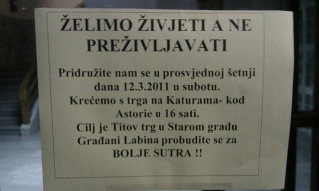 Labin među 11 hrvatskih gradova u kojima se danas prosvjeduje protiv Vlade i političkih stranaka