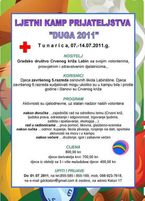 """Najava: Kamp prijateljstva """"Duga 2011″ u Tunarici"""