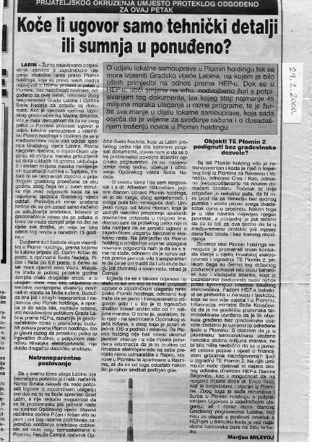 Retrospektiva izgradnje TE Plomin 2: Koče li ugovor samo tehnički detalji ili sumnja u ponuđeno? (članak objavljen u tiskanom izdanju Glasa Istre, 29.2.2000)