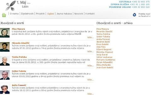 Obavijesti o smrti naših sugrađana na internetskim stranicama 1. Maj d.o.o