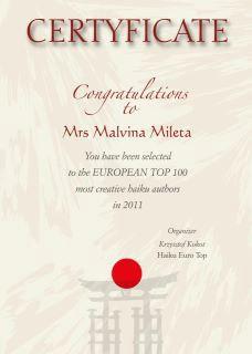 [Još jedan značajan uspjeh] Malvina Mileta uvrštena među 100 najproduktivnijih haiku autora