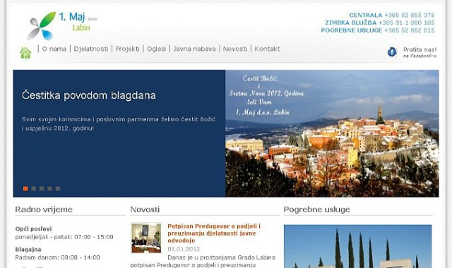 """Nova web stranica KP """"1. Maj"""" Labin - za izradu weba i promociju na društvenim mrežama 13.260 bez PDV-a"""
