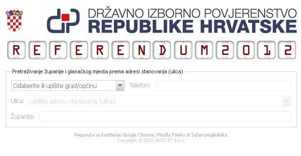 Na jedostavan način saznajte gdje je vaše glasačko mjesto na Državnom referendumu