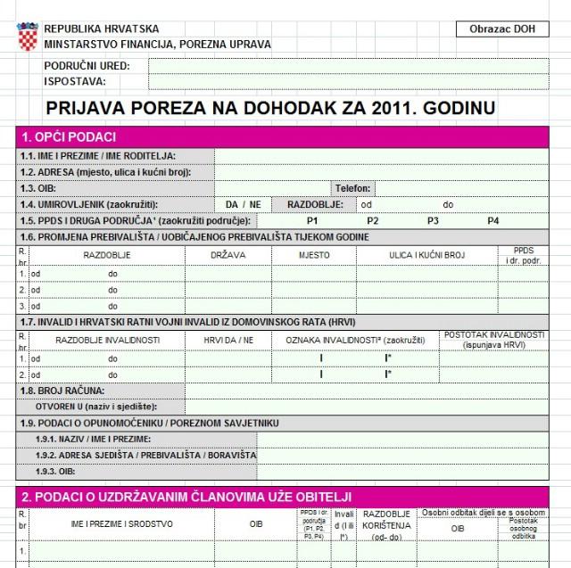 Preuzmite DOH 2011 obrazac - kalkulator za prijavu poreza - upute za popunjavanje