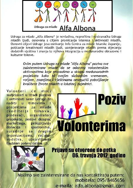 Udruga za mlade Alfa Albona poziva volontere!