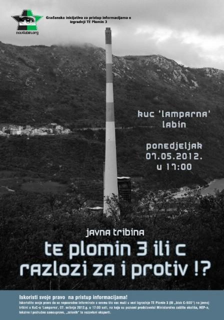 """Javna tribina """"TE Plomin 3 (C) - razlozi za i protiv"""" 7. svibnja u KUC Lamparna"""