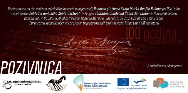 [NAJAVA] Zajednički koncert učenika OGŠ M. B. Rašana u sklopu Commenius projekta s kolegama iz Češke i Slovačke