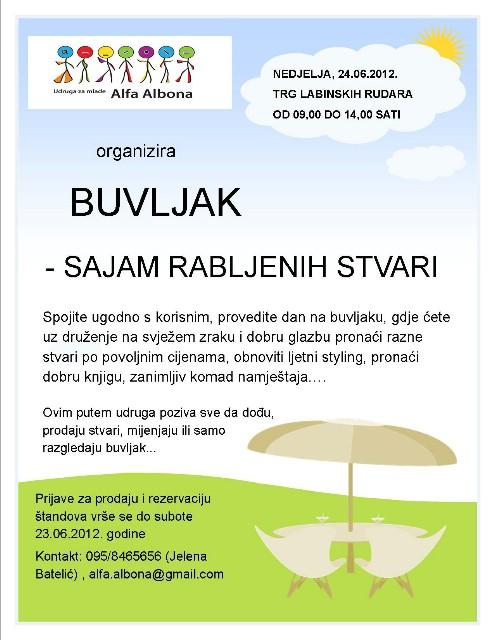 UDRUGA ZA MLADE ALFA ALBONA ORGANIZIRA BUVLJAK (SAJAM RABLJENIH STVARI) 24. 06. 2012.
