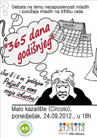`365 dana godišnjeg` - Debata o nezaposlenosti mladih 24. rujna u Malom kazalištu Labin