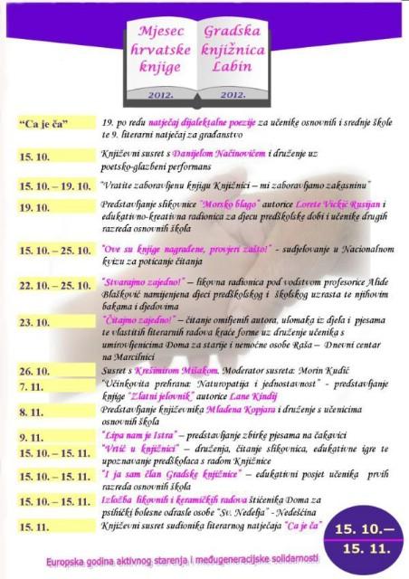 Mjesec hrvatske knjige 2012. u Gradskoj knjižnici Labin - PROGRAM (Od gostovanja Krešimira Mišaka i Danijela Načinovića, do kviza znanja i vraćanja zaboravljenih knjiga)