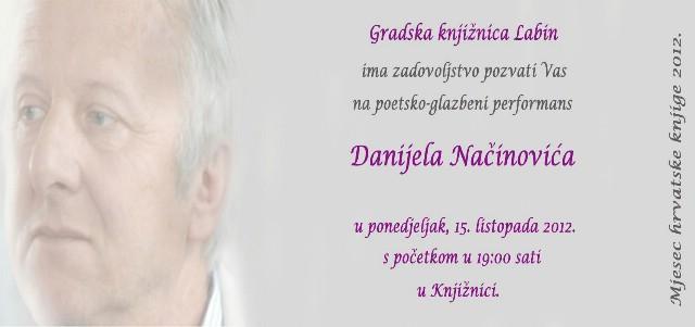 [Mjesec hrvatske knjige u Gradskoj knjižnici Labin] U ponedjeljak 15. listopada Glazbeno poetski performans Danijela Načinovića