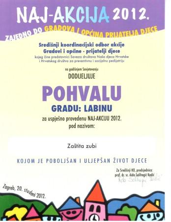 """Projekt """"Zaštita zubi"""" dobitnik pohvale za Naj akciju 2012. godine"""
