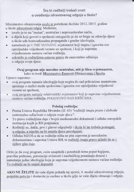 Labin: Velečasni pamfletom poziva roditelje učenika na pobunu protiv zdravstvenog odgoja u školama (dostupno za preuzimanje)