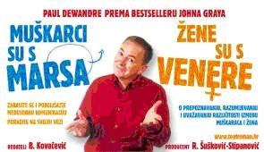 """Predstava u formi seminara prema svjetskom bestselleru Johna Graya  """"Muškarci su s Marsa, žene s Venere""""  31. siječnja 2013. @ Kino Labin"""