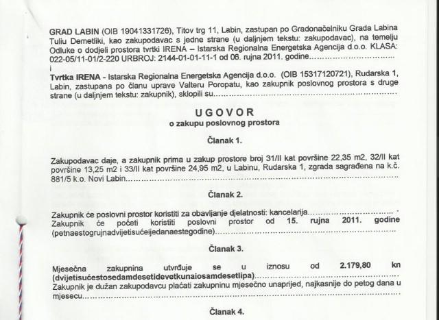 [Pogreška u gradskom registru] IRENA Gradu Labinu plaća 2.179 kuna mjesečno