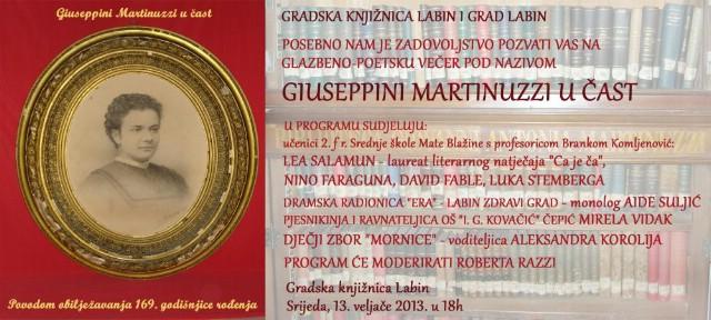 Večeras u Gradskoj knjižnici Labin  poetsko-glazbena večer u čast 169. godine rođenja Giuseppine Martinuzzi