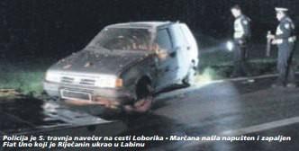 U dva dana pijan i bez vozačke ukrao četiri Fiata Uno - s onim koji je ukrao u Labinu sletio s ceste i pobjegao