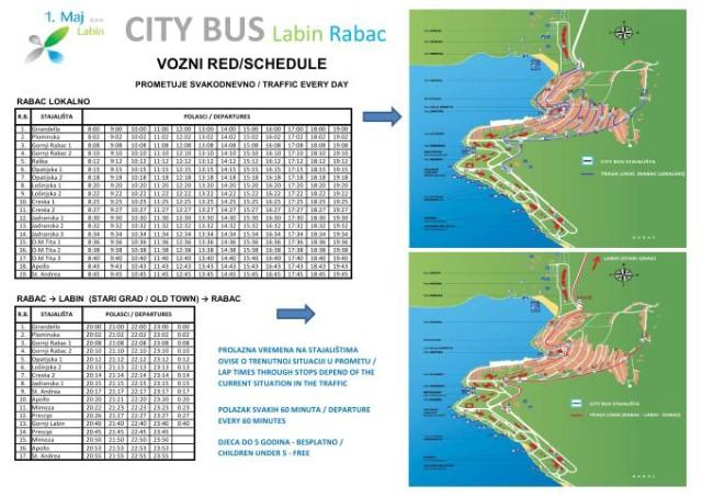 CITYbus vozi lokalno po Rapcu i navečer za starogradsku jezgru Labina  - vozni red