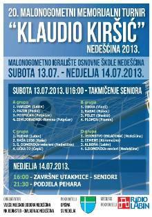 U subotu i nedjelju u Nedešćini 20. memorijalni malonogometni turnir Klaudio Kiršić